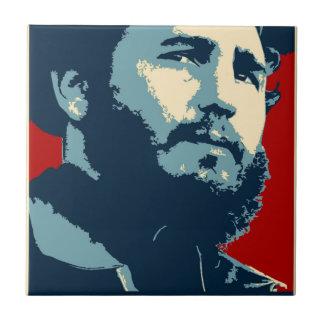 Fidel Castro - presidente cubano de la revolución Azulejo Cuadrado Pequeño