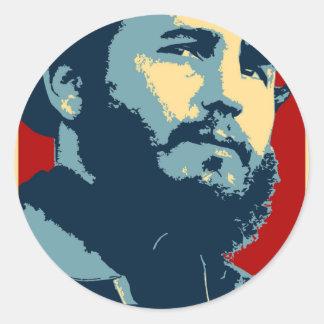 Fidel Castro - presidente cubano de la revolución Pegatina Redonda