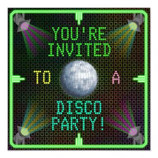 Fiesta adaptable de la bola de discoteca de los invitación 13,3 cm x 13,3cm
