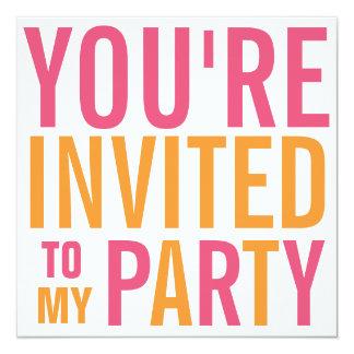 Fiesta adolescente rosado y del naranja de la MOD Invitación 13,3 Cm X 13,3cm