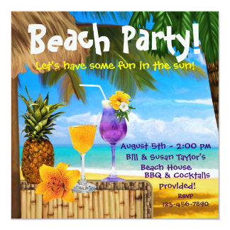 Fiesta adulto de la playa de los cócteles de la comunicado personalizado