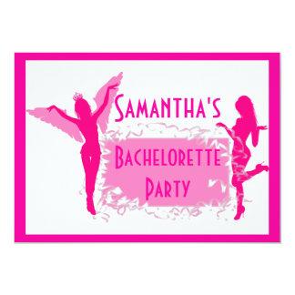 Fiesta adulto rosado del bachelorette invitación 12,7 x 17,8 cm