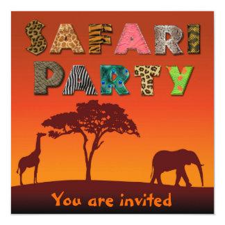 Fiesta africano de la silueta del safari - invitación 13,3 cm x 13,3cm