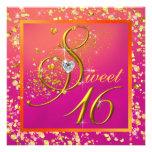 Fiesta anaranjado y rosado del dulce dieciséis invitaciones personales