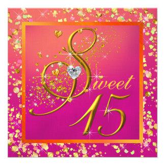 Fiesta anaranjado y rosado del dulce quince