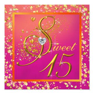 Fiesta anaranjado y rosado del dulce quince anuncios personalizados