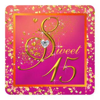 Fiesta anaranjado y rosado del dulce quince invitación 13,3 cm x 13,3cm