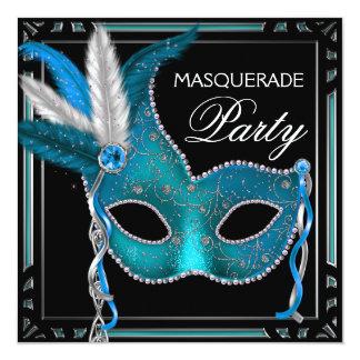 Fiesta azul de la mascarada de la máscara del invitación 13,3 cm x 13,3cm
