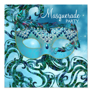 Fiesta azul de la mascarada del trullo bonito invitación 13,3 cm x 13,3cm