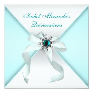 Fiesta azul de Quinceanera del trullo elegante Invitación 13,3 Cm X 13,3cm