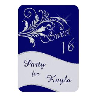 Fiesta azul del dulce 16 del brillo del diamante invitación 8,9 x 12,7 cm