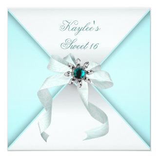 Fiesta azul del dulce 16 del trullo blanco invitación 13,3 cm x 13,3cm
