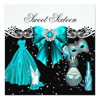 Fiesta azul enmascarado del dulce 16 del dulce invitación 13,3 cm x 13,3cm