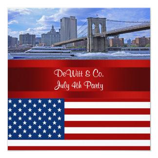 Fiesta azul rojo de la bandera W de los E.E.U.U. Invitación 13,3 Cm X 13,3cm