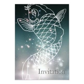 fiesta azul romántico moderno de Piscis del Invitación 12,7 X 17,8 Cm