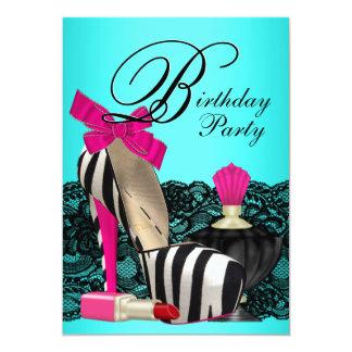 Fiesta azul y rosado del trullo de los zapatos del invitación 12,7 x 17,8 cm