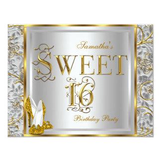 Fiesta blanco de plata del dulce 16 del dulce invitación 10,8 x 13,9 cm