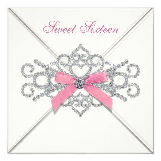 Fiesta blanco del dulce 16 del rosa de los invitación 13,3 cm x 13,3cm
