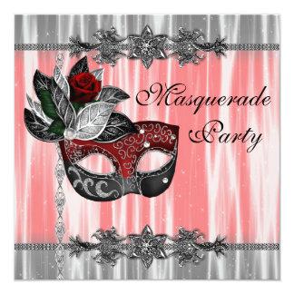 Fiesta blanco negro rojo de la mascarada invitación 13,3 cm x 13,3cm