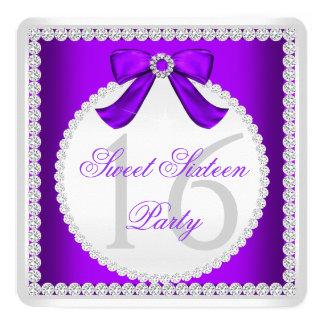 Fiesta blanco púrpura del diamante dieciséis del invitación 13,3 cm x 13,3cm