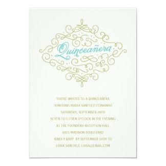 Fiesta bonito de Quinceanera del Flourish Invitación 12,7 X 17,8 Cm