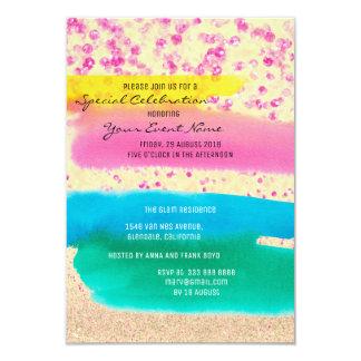 Fiesta brillante del arco iris azul esmeralda invitación 8,9 x 12,7 cm