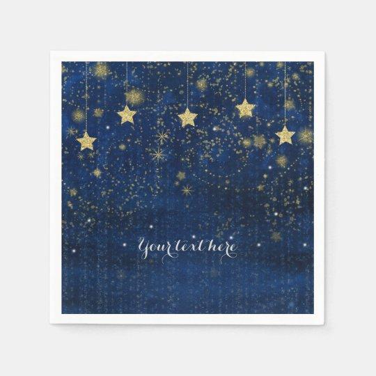 Fiesta caprichoso celestial estrellado del oro servilletas desechables