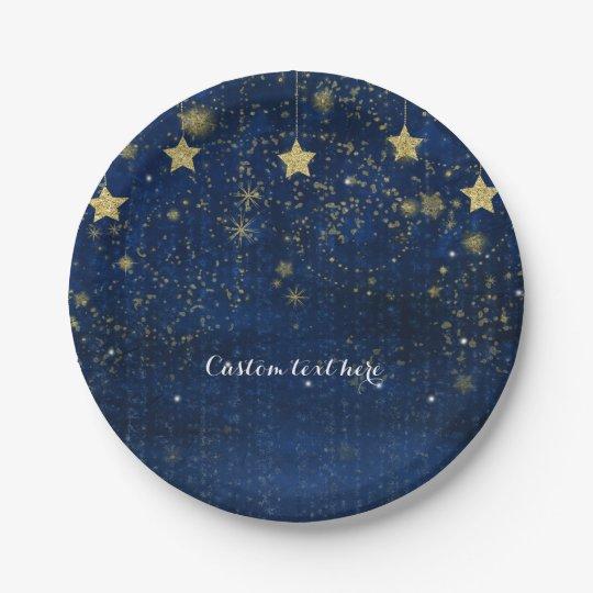 Fiesta celestial estrellado brillante del azul y plato de papel