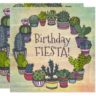 Fiesta colorida del cumpleaños del cactus invitación 13,3 cm x 13,3cm