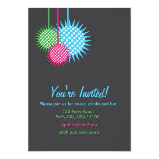 Fiesta colorido de la bola de discoteca invitación 12,7 x 17,8 cm
