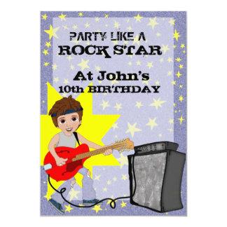 ¡Fiesta como una estrella del rock! Invitación 12,7 X 17,8 Cm