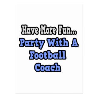 Fiesta con un entrenador de fútbol postal