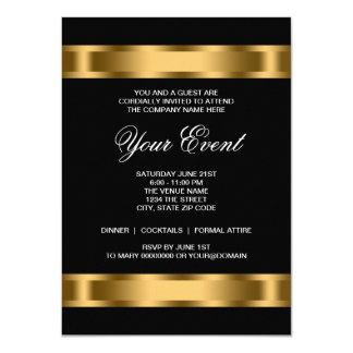 Fiesta corporativo negro del lazo negro del oro invitación 11,4 x 15,8 cm