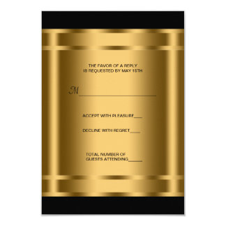 Fiesta corporativo RSVP del negro negro del oro Invitación 8,9 X 12,7 Cm