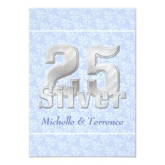 Fiesta de aniversario azul de la bodas de plata comunicado personal