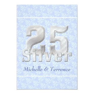 Fiesta de aniversario azul de la bodas de plata invitación 12,7 x 17,8 cm