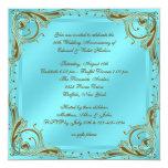 Fiesta de aniversario azul del boda del oro 50.o invitación personalizada