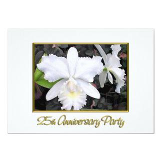 Fiesta de aniversario blanca quebradiza 25 de las anuncio personalizado