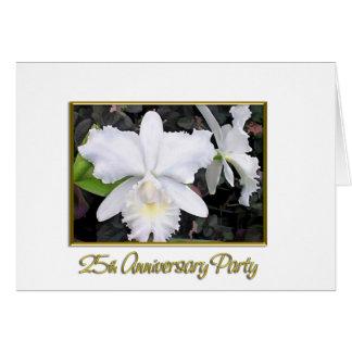 Fiesta de aniversario blanca quebradiza 25 de las tarjeta de felicitación
