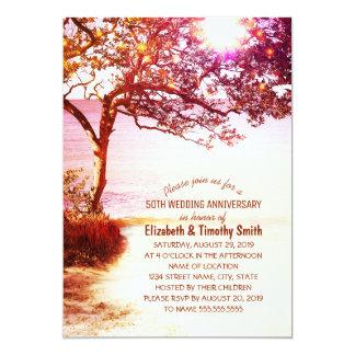Fiesta de aniversario caprichosa del boda de playa invitación 12,7 x 17,8 cm