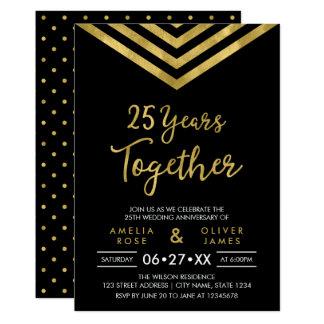 Fiesta de aniversario de Chevron del falso oro Invitación 12,7 X 17,8 Cm