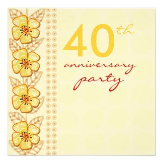 Fiesta de aniversario de moda del boda de las flor invitacion personalizada