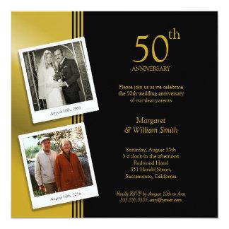 Fiesta de aniversario de oro del boda de 2 fotos invitación 13,3 cm x 13,3cm