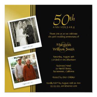 Fiesta de aniversario de oro más 2 fotos invitación 13,3 cm x 13,3cm