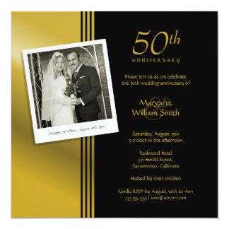 Fiesta de aniversario de oro más la foto invitación 13,3 cm x 13,3cm