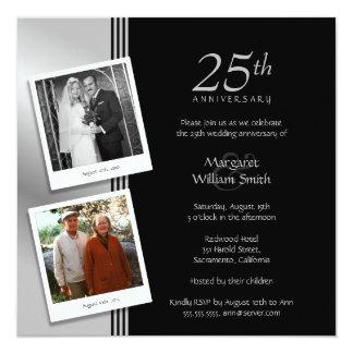 Fiesta de aniversario de plata más 2 fotos invitación 13,3 cm x 13,3cm