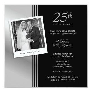 Fiesta de aniversario del boda de la plata de la invitación 13,3 cm x 13,3cm
