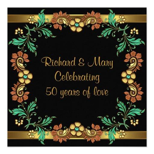 Fiesta de aniversario del boda de las flores 50.as comunicado personalizado