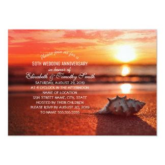 Fiesta de aniversario del boda de playa de la invitación 12,7 x 17,8 cm