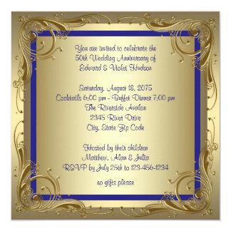 Fiesta de aniversario del boda del oro 50.o del invitación 13,3 cm x 13,3cm